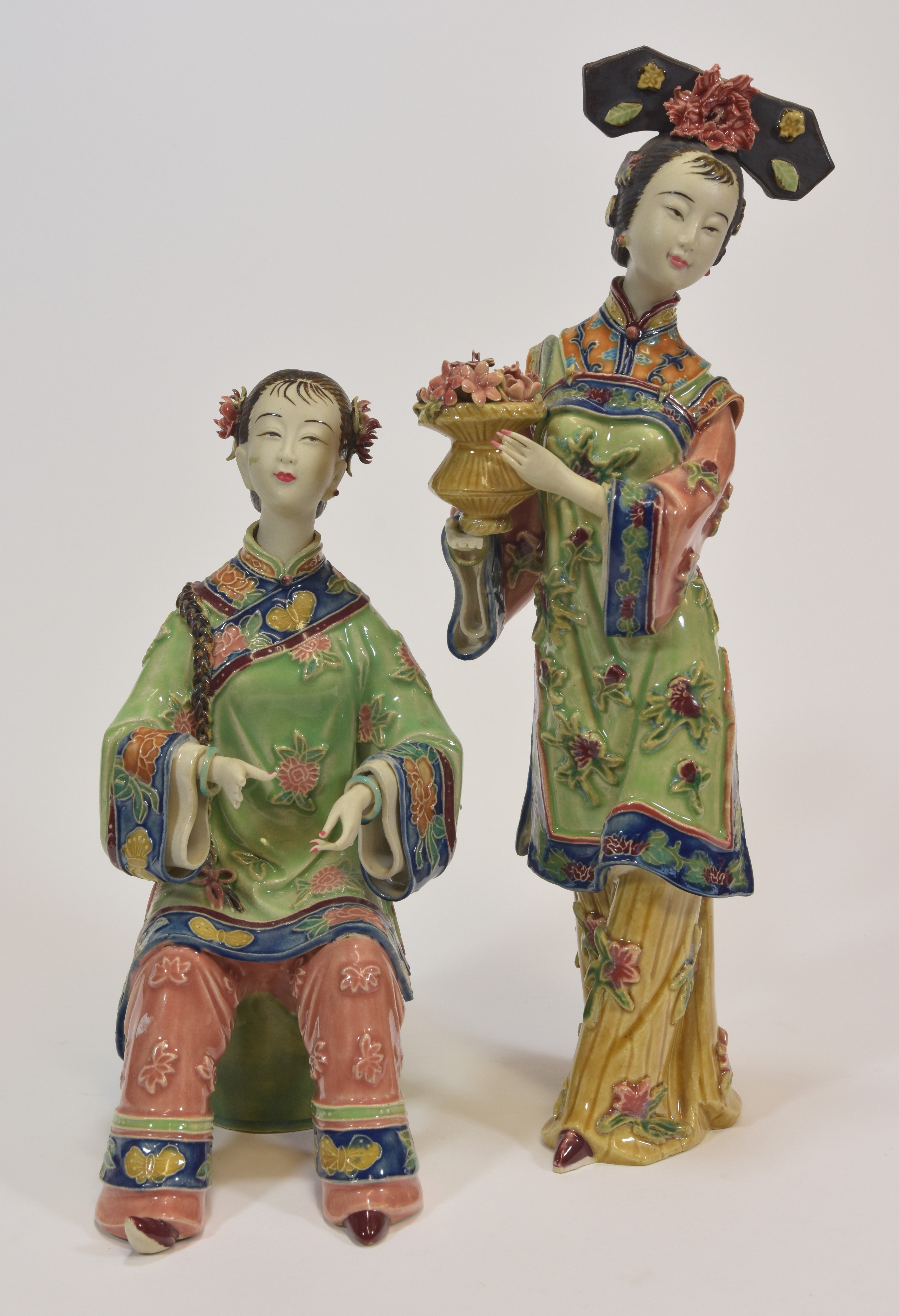 Lot 15 - Two chinese Famile rose figures of ladies 30cm tall with a square seal mark inside (2) 文革時期 粉彩仕女兩件