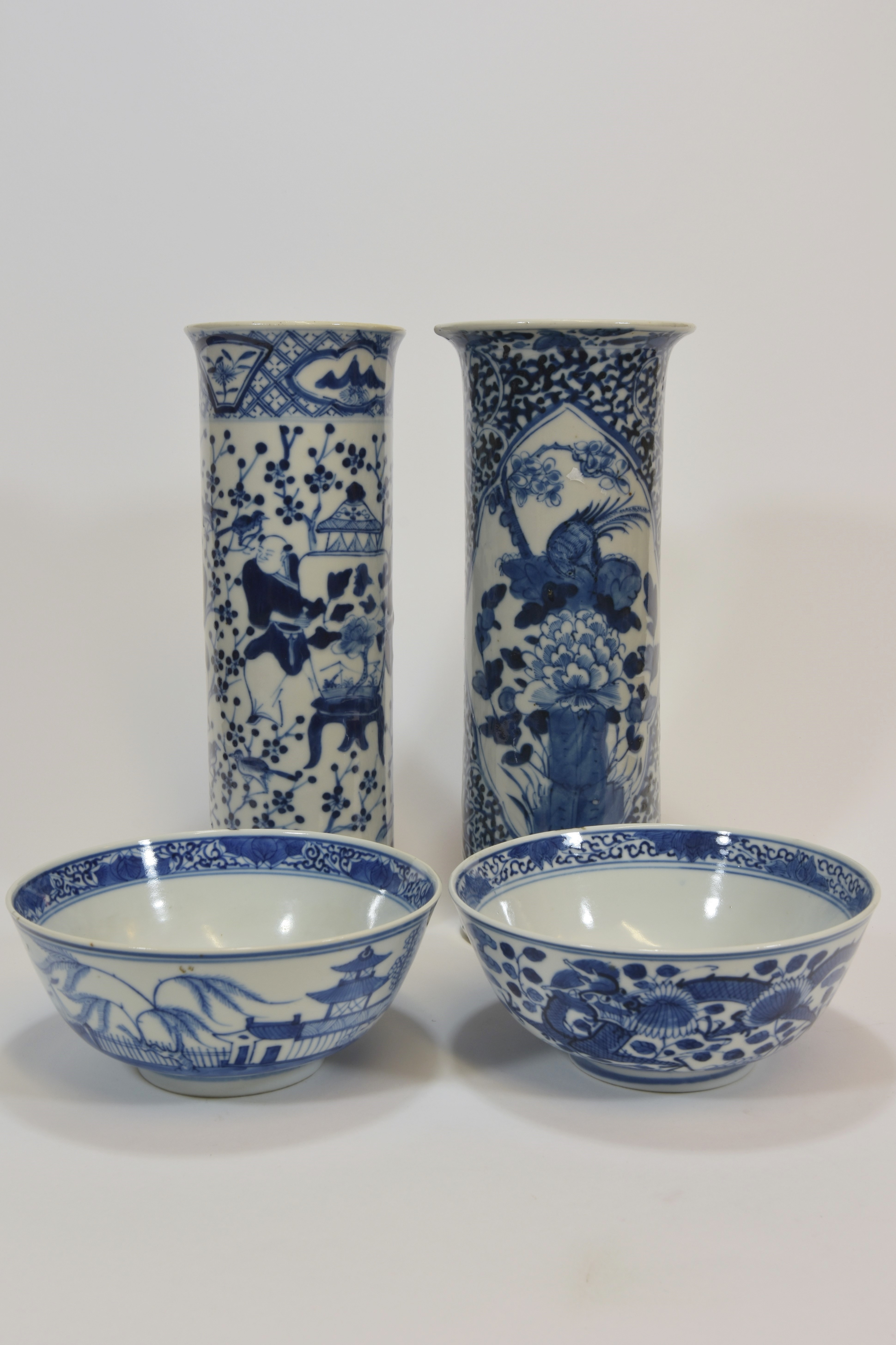 Lot 13 - Two 19th century vases with figures and birds together with two bowls (4)清 十九世紀 青花尊及青花碗共四件