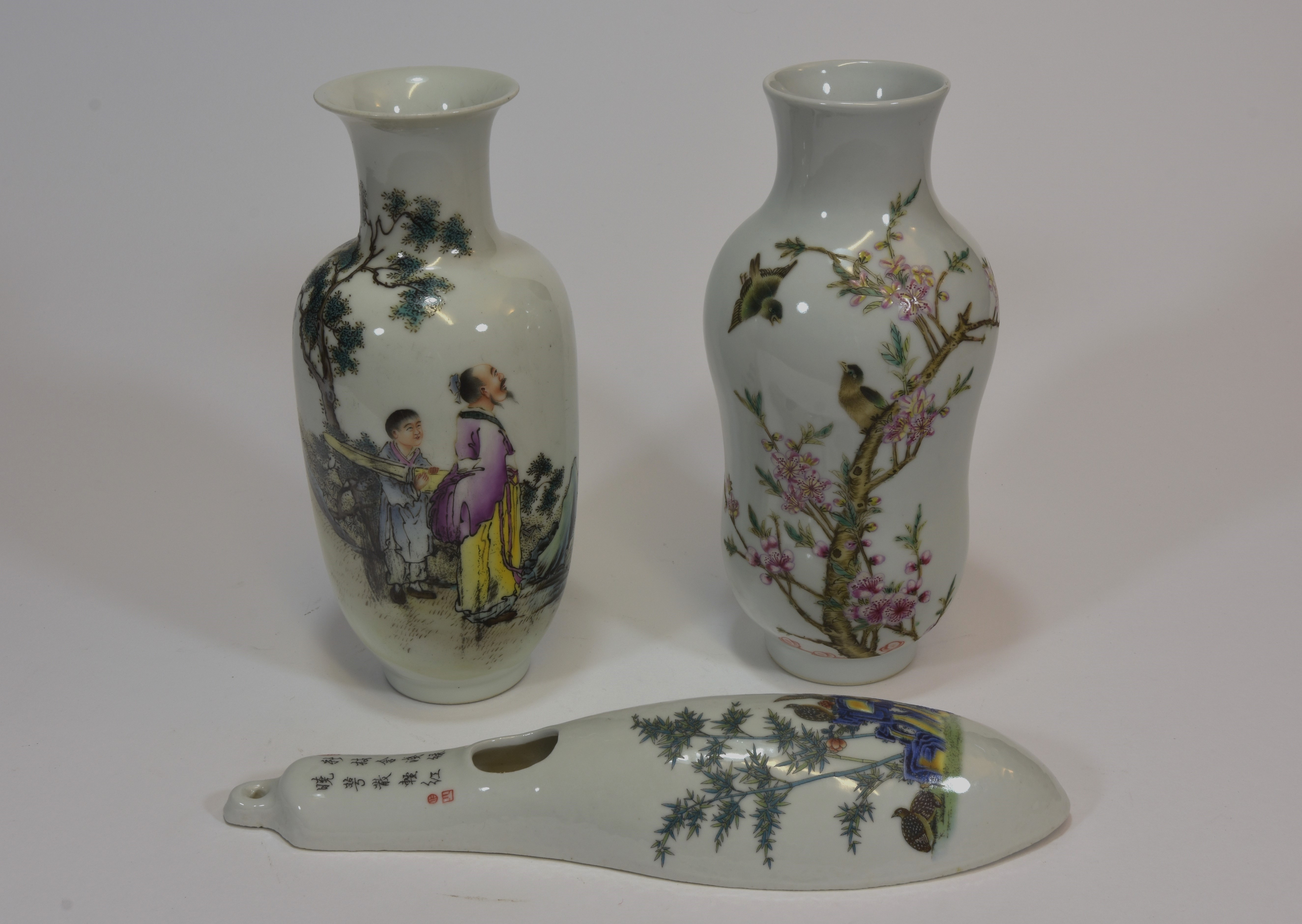 Lot 50 - A group of three famille rose vases (3) 19cm 文革時代粉彩瓷叁件