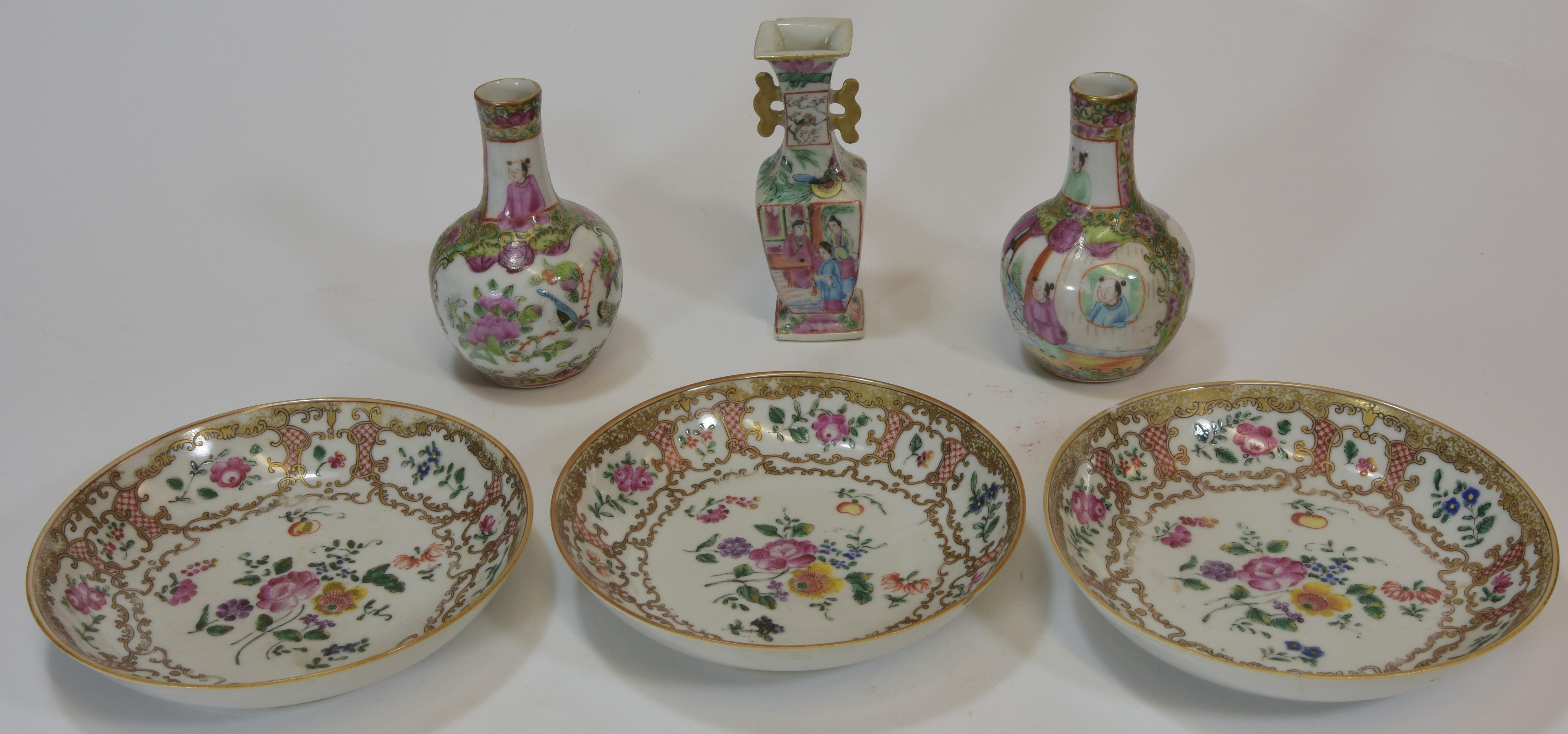 Lot 48 - A group of three 18th century dishes plus three cantonese vases 14cm 十八世紀或遲 瓷器陸件