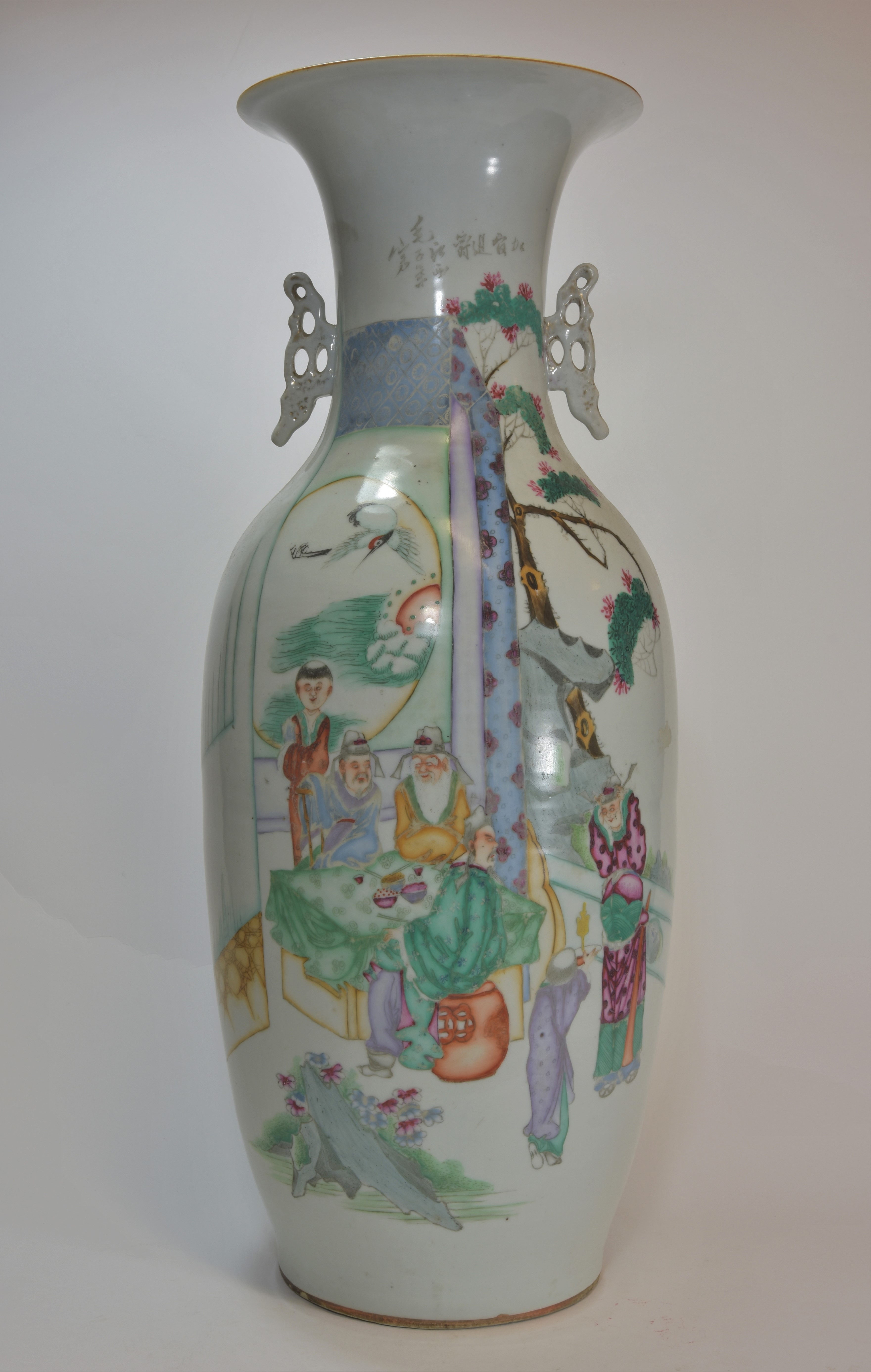 Lot 45 - An early 20th century Famille rose vase 59cm 文革時代 粉彩人物花瓶