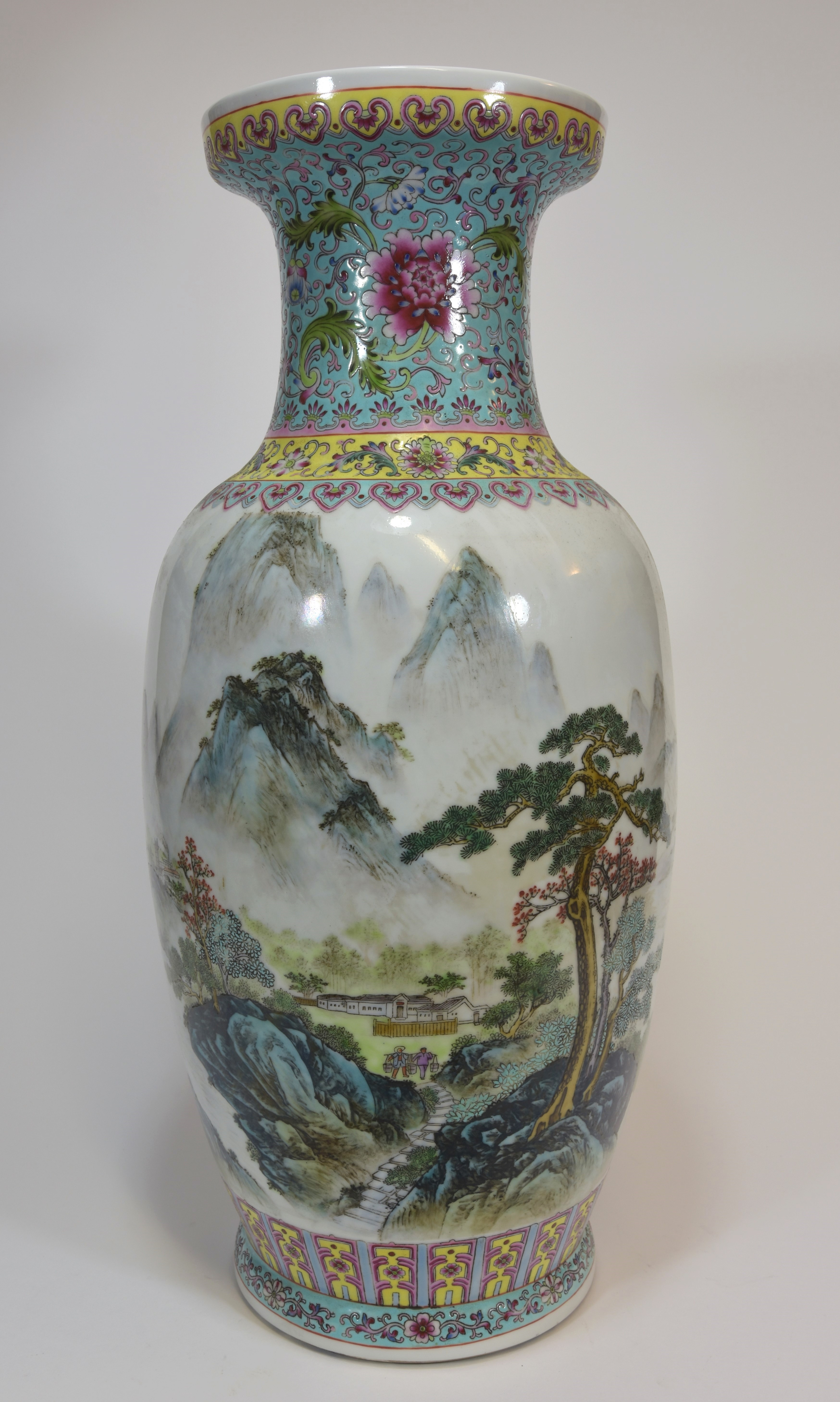 Lot 42 - A 20th century famille rose vase showing a mountain scene 50cm文革時代 粉彩山水尊