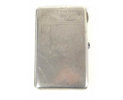 A Russian silver cigarette case with chased Art Nouveau detail, with inscribed initials 'AJ' and blue stone to the push relea