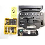 Ratchet and Socket Set, Sockets, and Dewalt Driver Kit, Lot Location 3204 Olympia Dr. A,