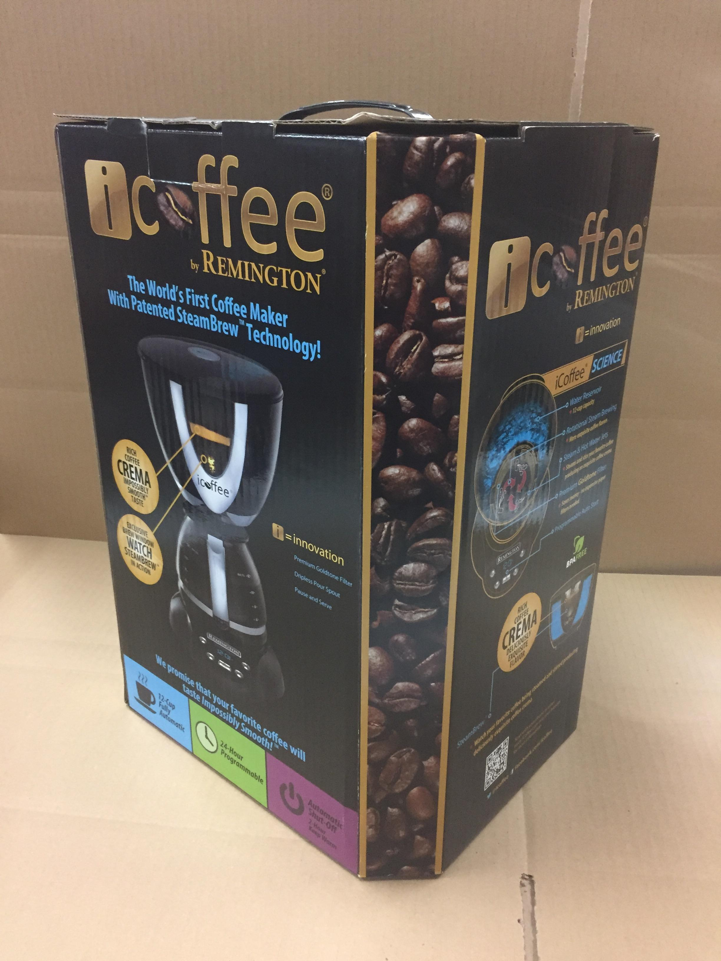 iCOFFEE REMINGTON COFFEE MAKER (BIDDING IS PER PACKAGE, MULTIPLIED BY NUMBER OF PACKAGES)