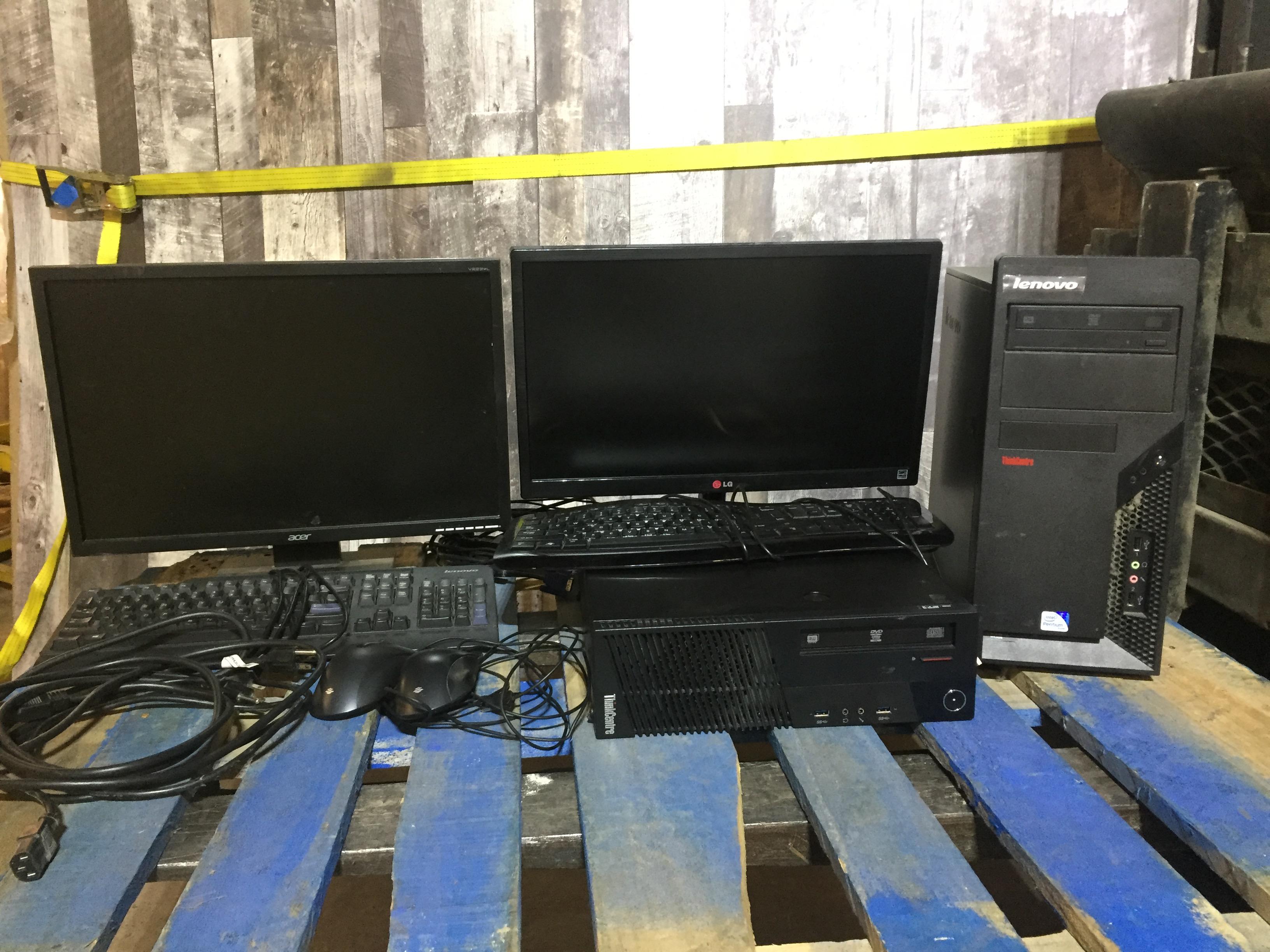 1 ACER COMPUTER MONITOR, 1 LG COMPUTER MONITOR, 2 KEYBOARDS, 2 MICE, 1 LENOVO THINKCENTRE DESKTOP, 1