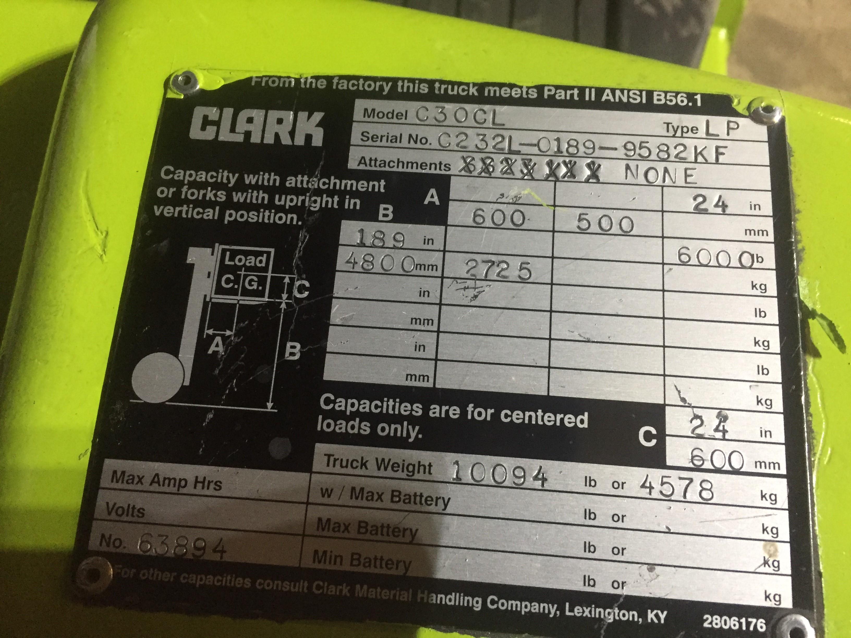 CLARK (MODEL #C30CL) 6000LBS LP 2 STAGE FORKLIFT - SERIAL #C232L-0189-9582KF - Image 4 of 6