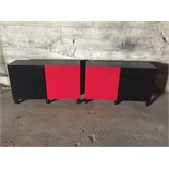 2 RED & BLACK 2 DOOR STORAGE CABINETS