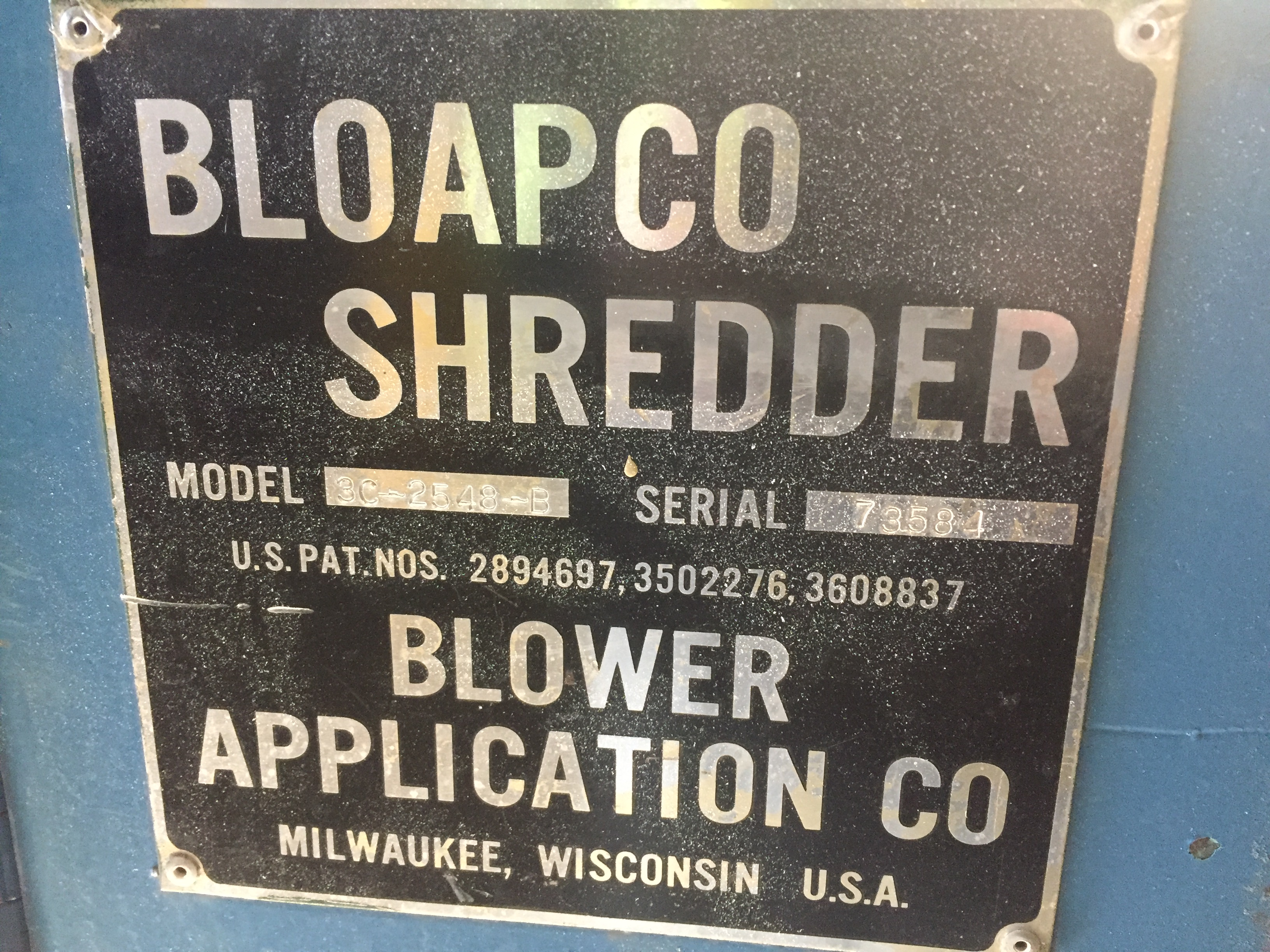 """BLOAPCO (MODEL #3C-2548-B) SHREDDER WITH 1"""" CORES AND CARDBOARD - SERIAL #73584 - Image 3 of 5"""
