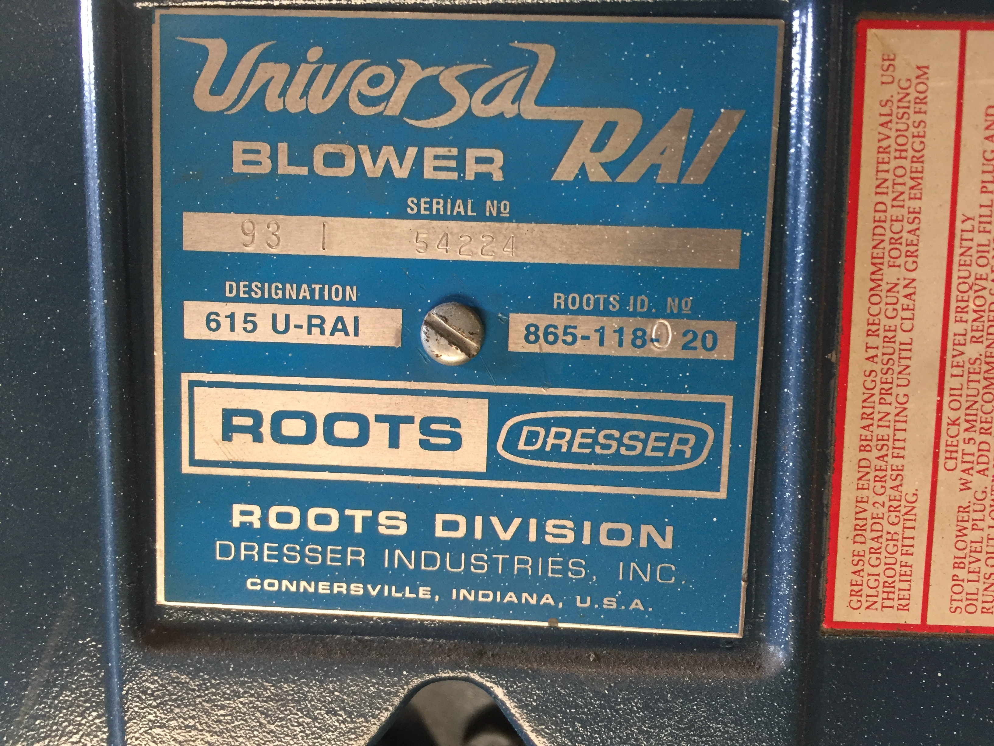 ROOTS HIGH PRESSURE PUMP/BLOWER - USED FOR PUMPING AIR INTO SILOS, ETC. MOVING PRODUCT - SERIAL # - Image 3 of 4