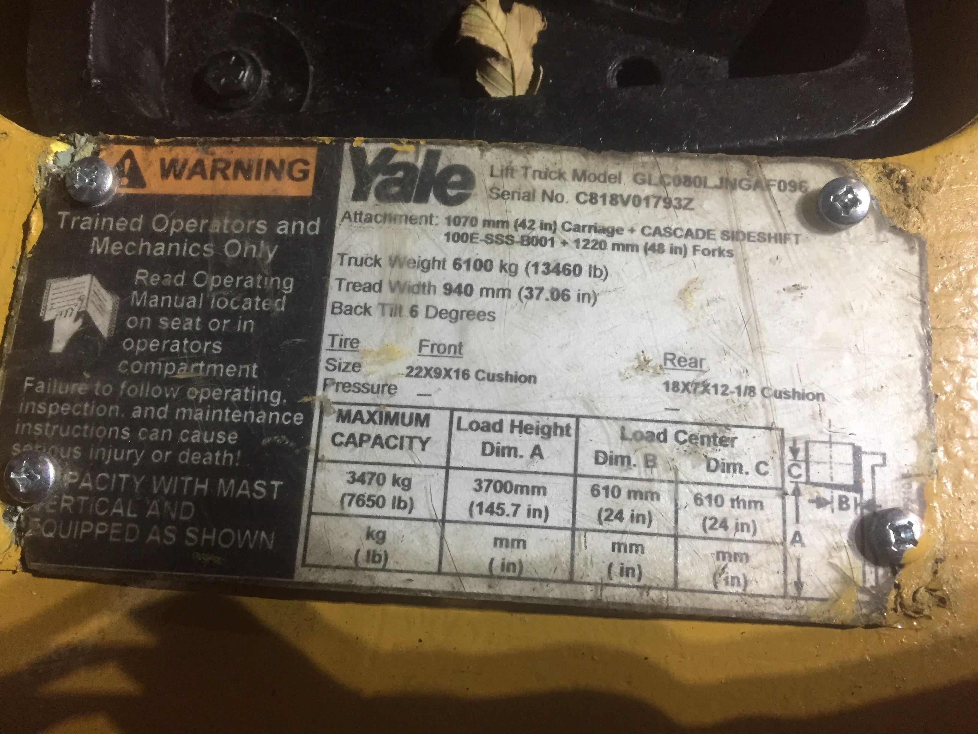 YALE (MODEL #GLC080LJNGAF096) 8,000LBS LP BOX CAR SPECIAL 3 STAGE FORKLIFT - SERIAL #C818V017932 - Image 3 of 5