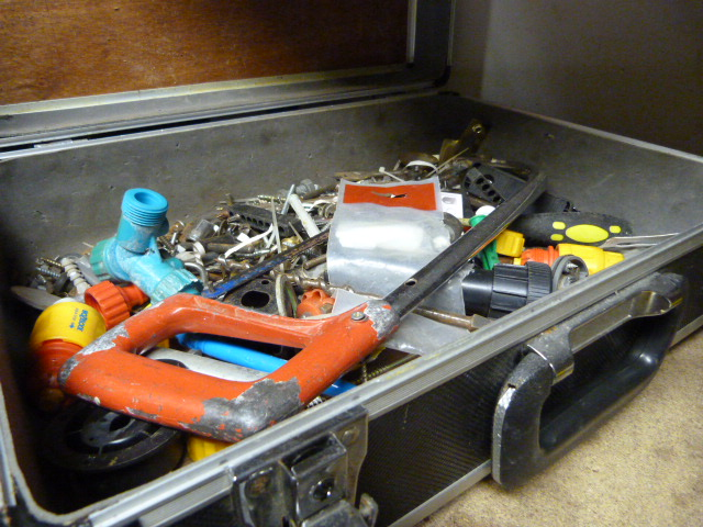 Lot 7 - Small Case and Contents Including Hacksaw, Screws,