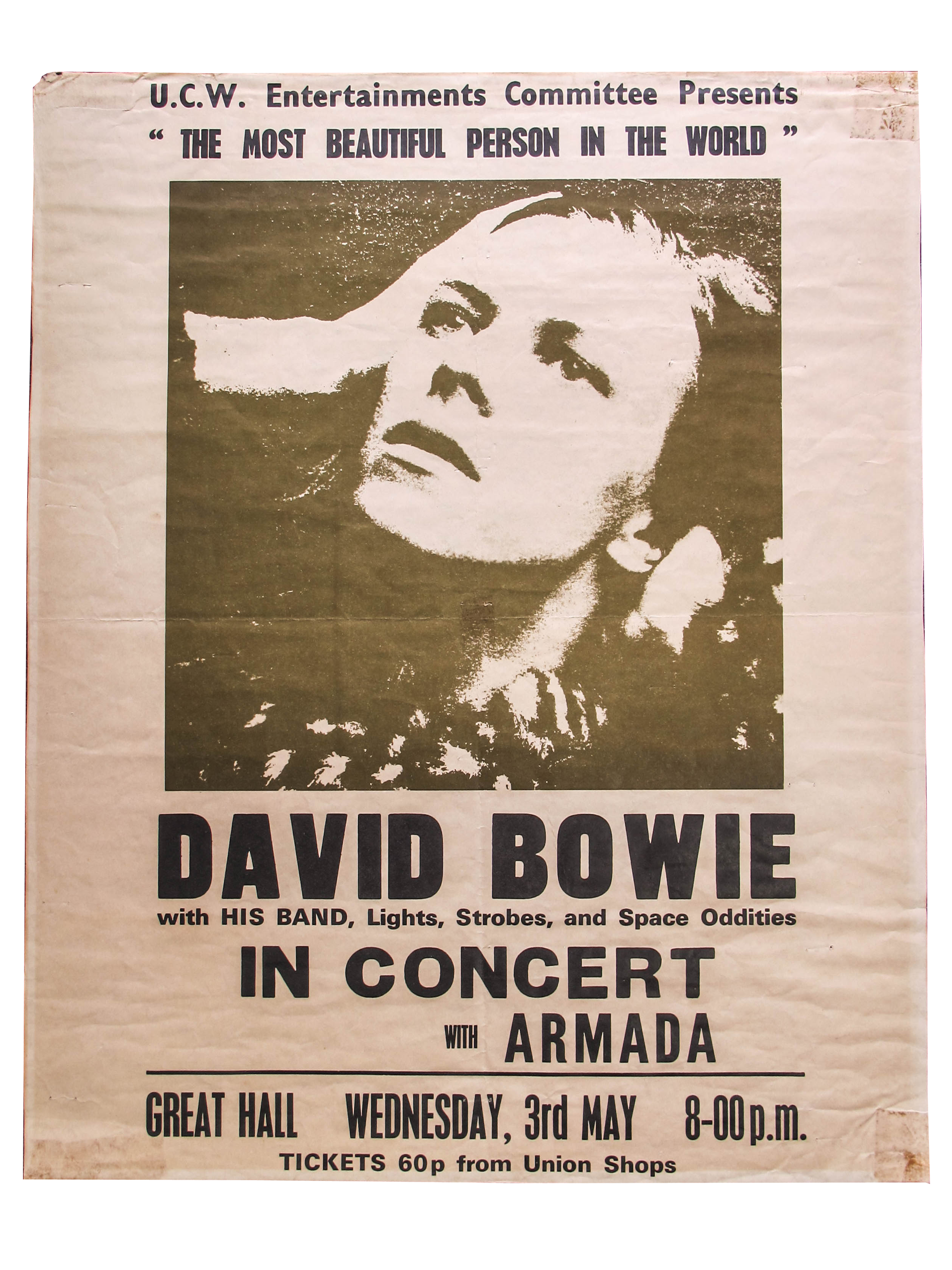 Lot 46 - A Rare David Bowie 1972 Concert Poster - 'David Bowie with His Band, Lights, Strobes and Space