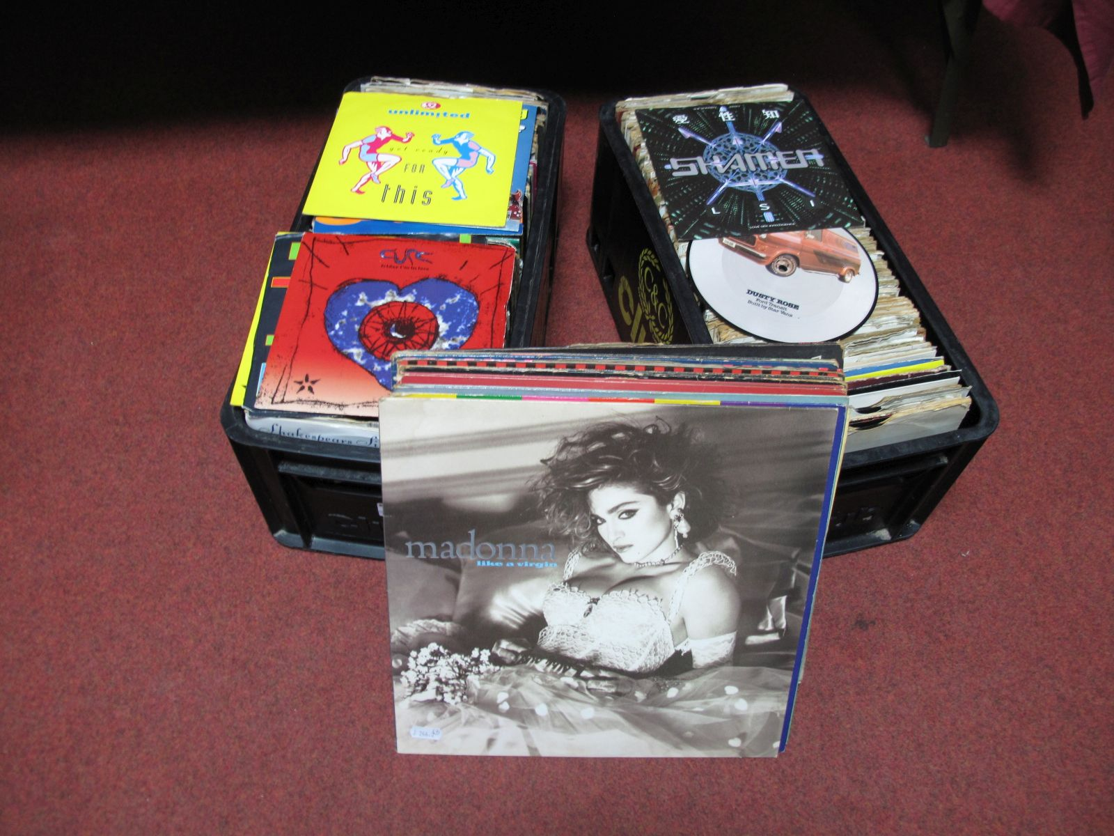 """Lot 30 - A Quantity of 7"""" Singles, (over 200) to include Elvis, Shaman, Cure, 2 Unlimited, etc, together with"""