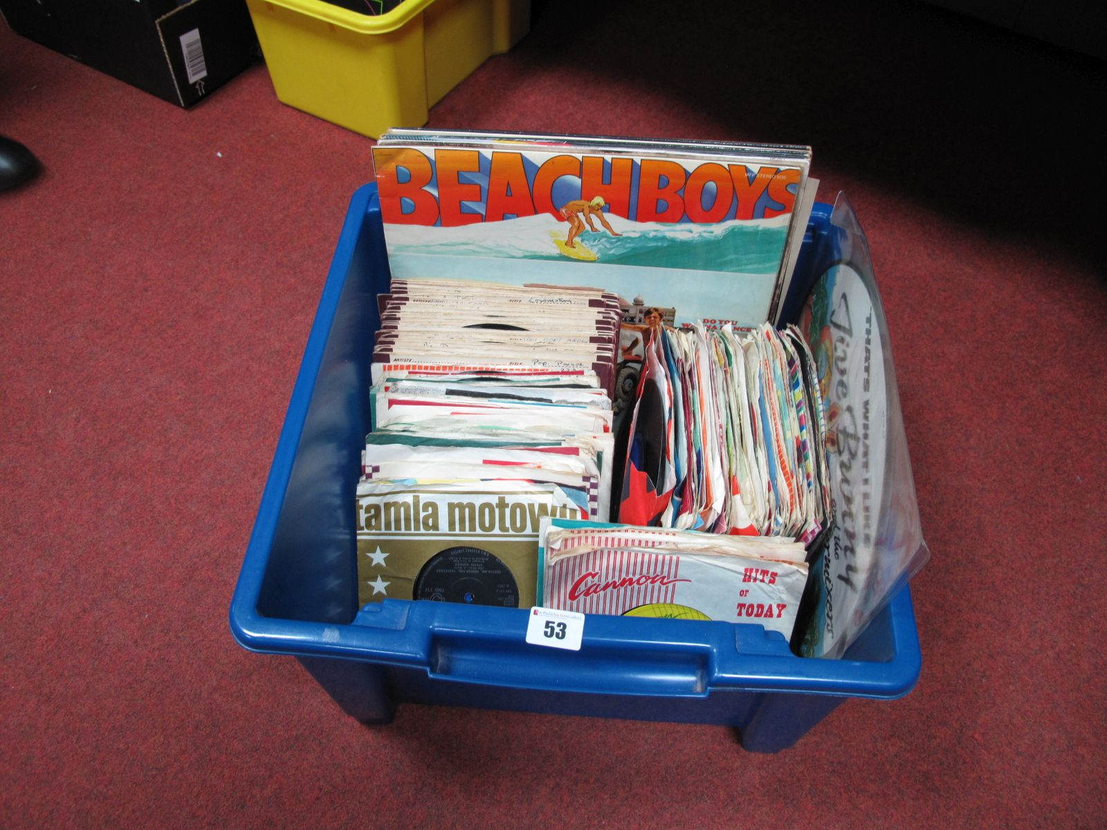 Lot 53 - A Collection of LP's and 45RPM's, to include Beach Boys, ELO, Beatles, Elvis, T-Rex, Dusty