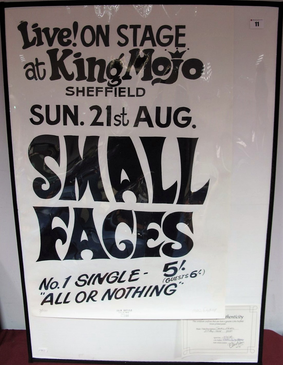 """Lot 11 - Colin Duffield: """"Small Faces - Live On Stage At The King Mojo Sheffield, August 21st Sunday""""- A"""