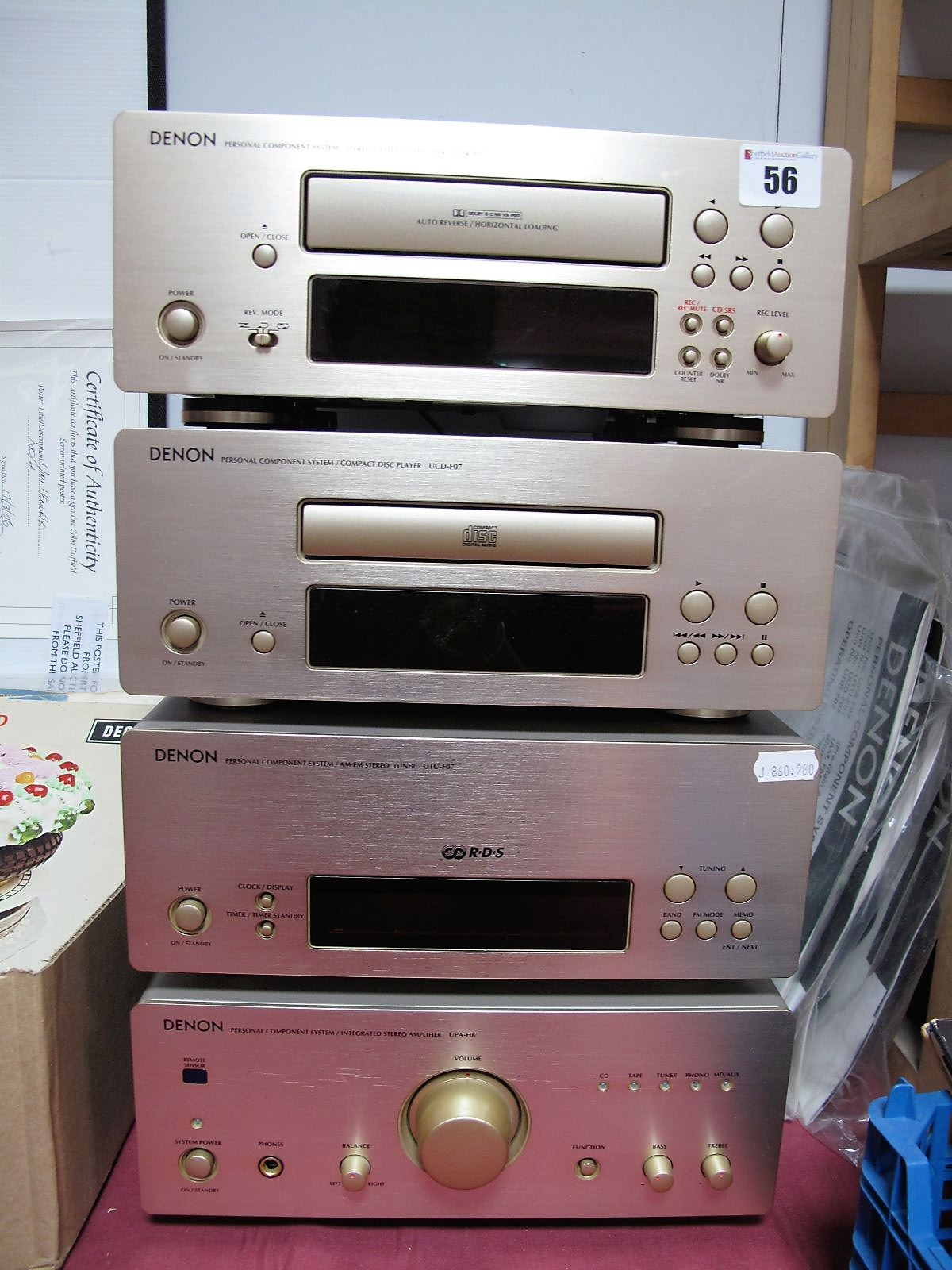 Lot 56 - A Four Piece Denon Music Stack System, comprising a UPA-FO7 Integrated Stereo Amplifier, TUT-FO7