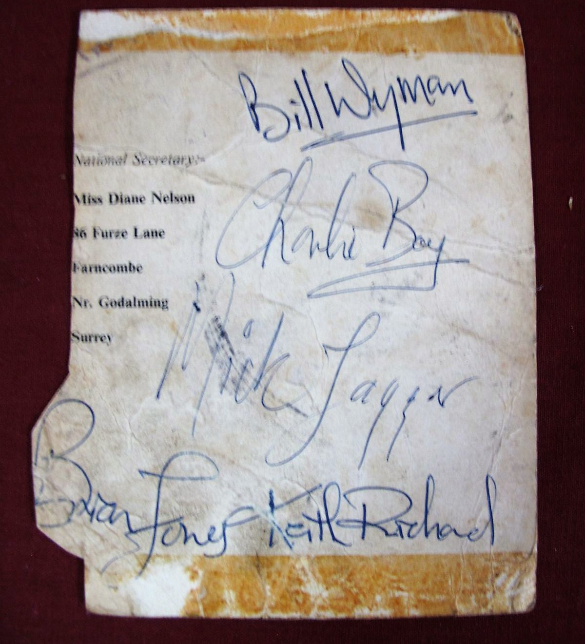 Lot 20 - Rolling Stones - A Circa 1960's Black and White Promotional Card of the Group, with autographs,