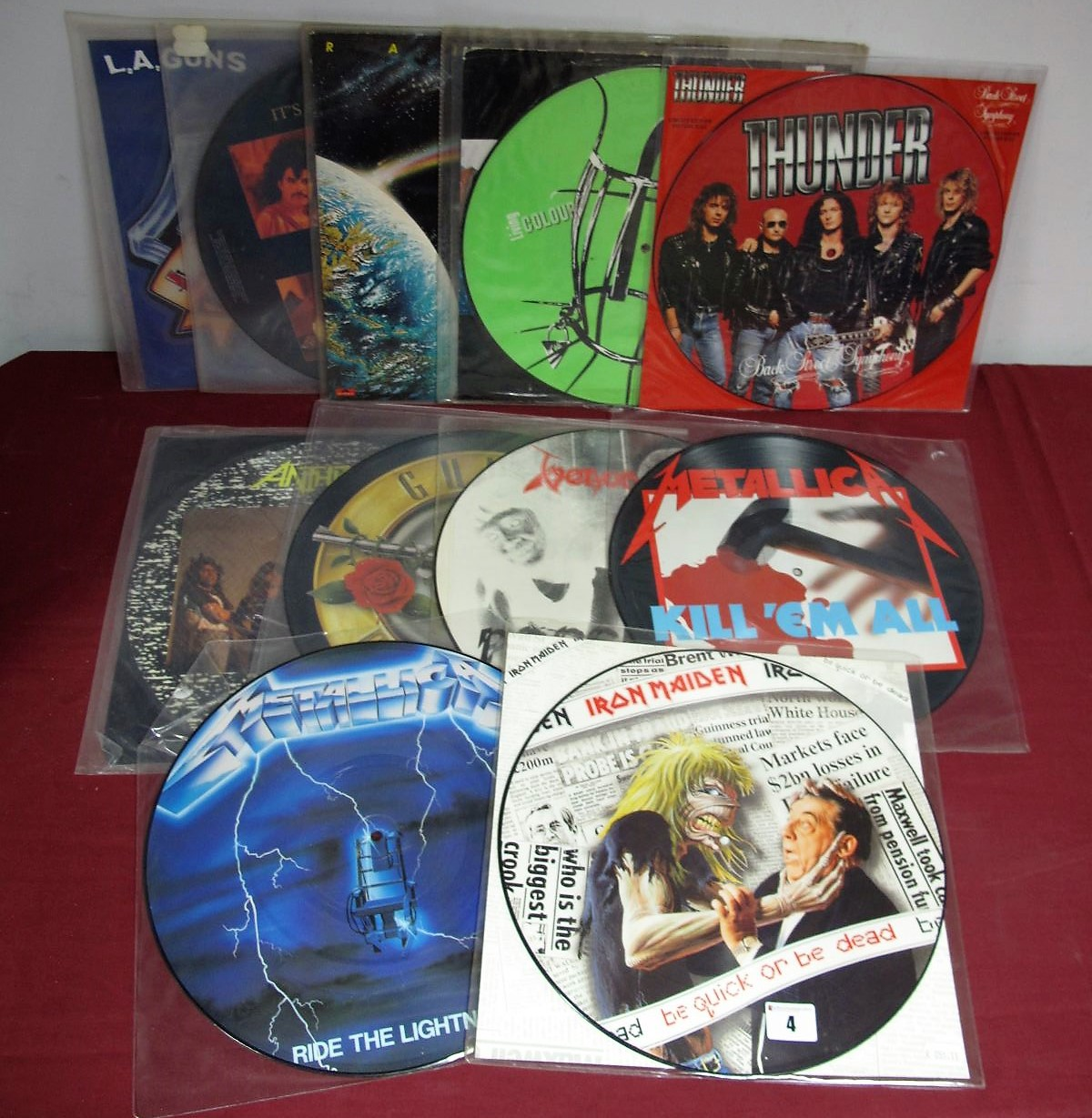 "Lot 4 - Rock Vinyl - Eleven picture discs/coloured vinyl 12"" singles (limited editions noted) by Anthrax,"