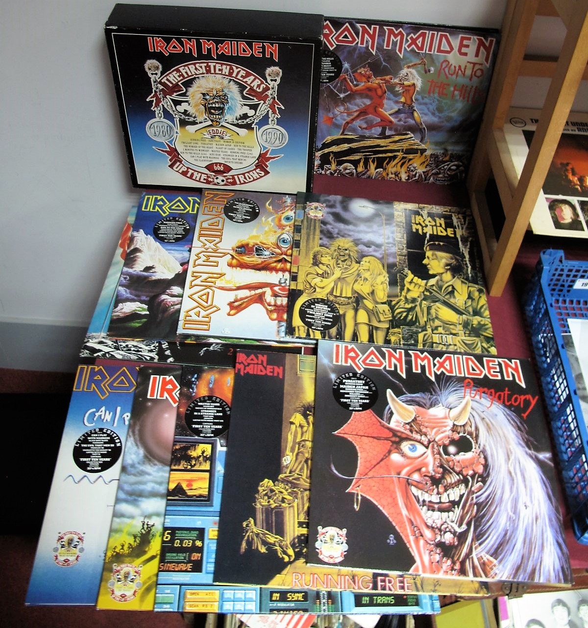 "Lot 21 - Iron Maiden - First 10 Years Box Set 'Up The Irons' - 10 double 12"""" singles - excellent"
