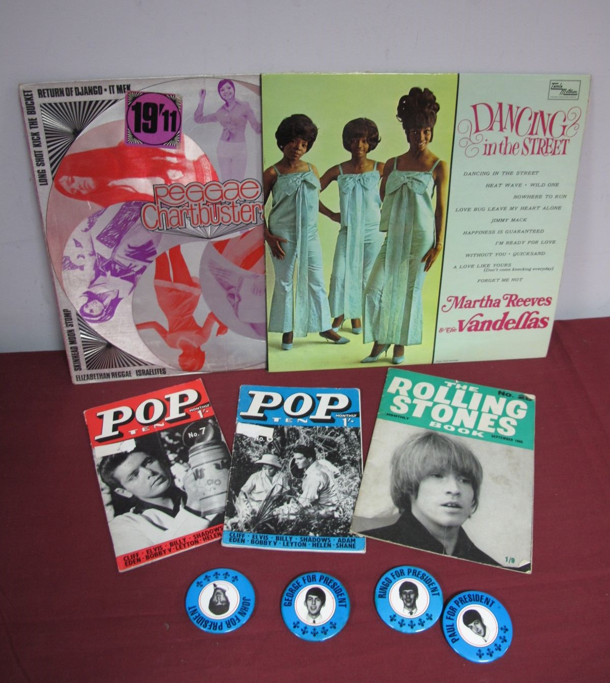 Lot 39 - A Set of Four Beatles 'For President' Pin Badges, each depicting a Beatle profile; together with a