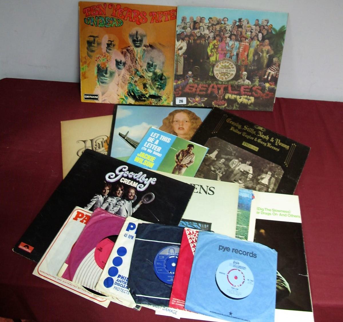 Lot 26 - Rock and Pop LP's, to include Neil Young 'Harvest', Crosby Stills 'Deja Vu', Cream 'Goodbye', Ten