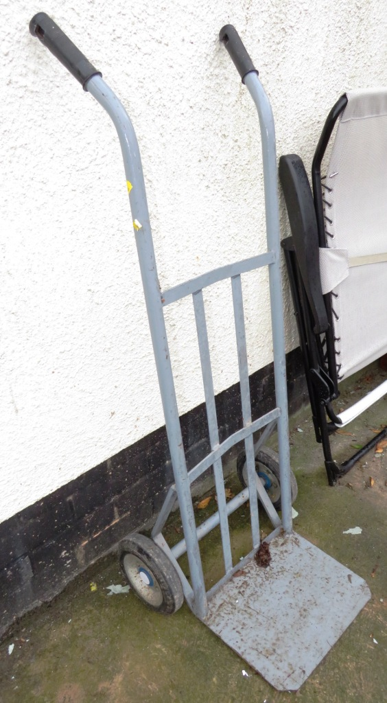 Lot 26 - GREY METAL SACK TRUCK AND TWO FOLDING WOODEN AND METAL GARDEN CHAIRS