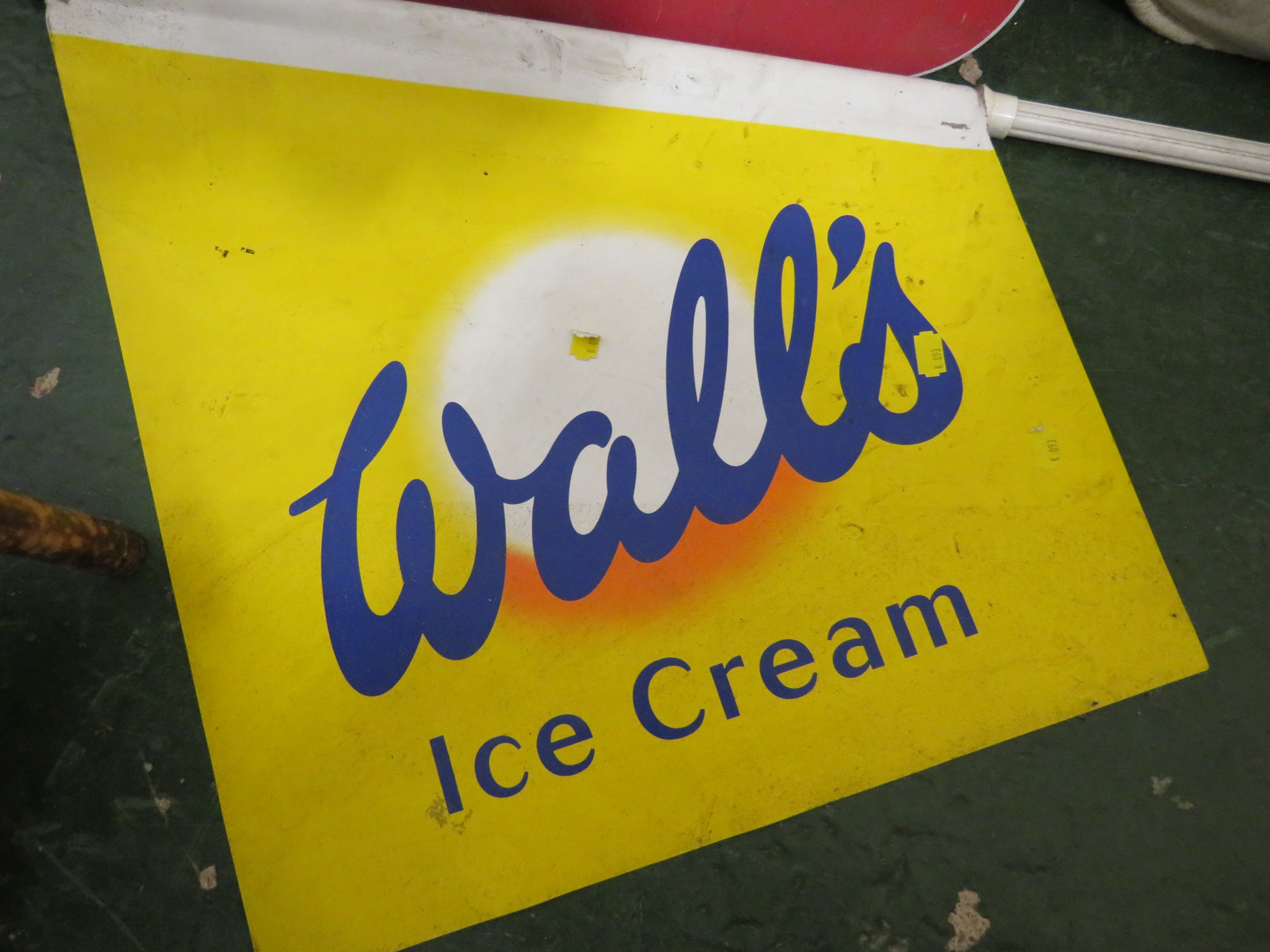 Lot 55 - WALLS ICE CREAM ENAMEL SIGN AND FLAG