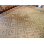 A sumptuous 100% pure new wool carpet 10m x 3.4m cream field classic pattern Italian designed