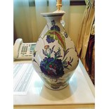 Fontaine tiled faïence vase inscribed Peint à la Main Geo Martel Décoration 360mm
