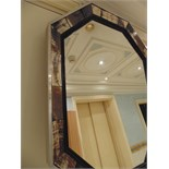 A Mid Century Modern Horn and Nickel Plated Metal Mirror Frame the hexagonal frame composed of