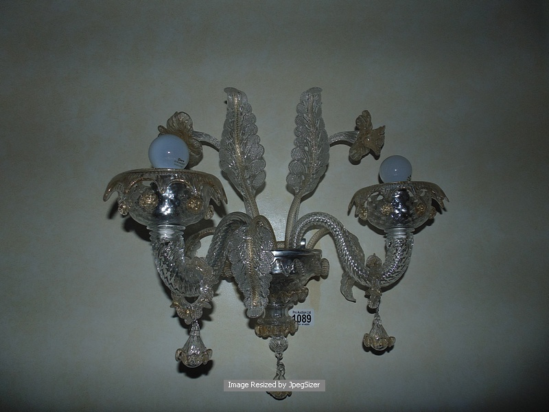 Lot 1089 - Murano glass two candle wall sconce by Barovier & Toso with gilded and chromed metal finishing