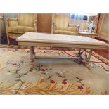 Continental painted and marbleised coffee table the marble top surmounted above four fluted
