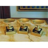 A set of 3 x French Empire style Tazza on marble base, a single gilded bronze mounted on a square