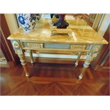 Neoclassical Italian painted and parcel gilt console with marble top, applied medallions detail on