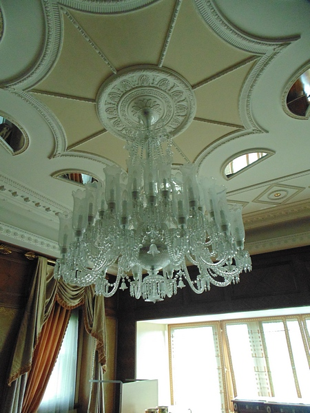 Lot 88 - A Murano glass chandelier attributed to Barovier and Toso, suspended from drop chains and a
