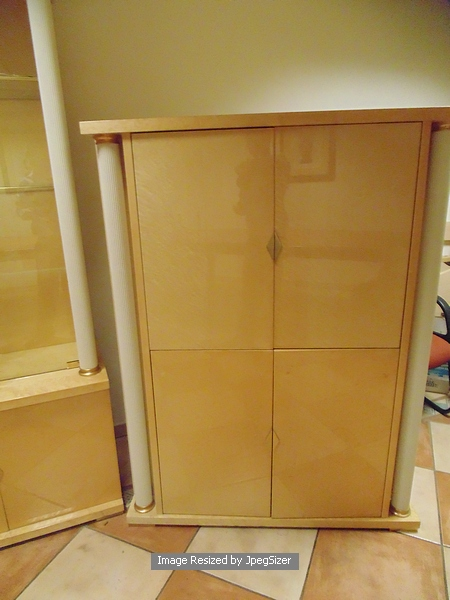 Auction id 11472 lot number 1183 a birds eye maple tv audio cabinet with retractable top - Retractable kitchen cabinet doors ...