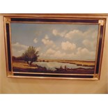 An Italianate landscape framed painting on canvas 1950mm x 860mm