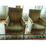 A pair of Louis XVI style Directoire Bergères painted and lacquered wood armchairs 720mm x 700mm x