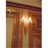 Laudarte SRL. 4 x twin arm candle wall sconces 24ct. gold on bronze