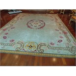 A sumptuous 100% pure new wool carpet 3570mm x 4320mm pale blue grey field with a central