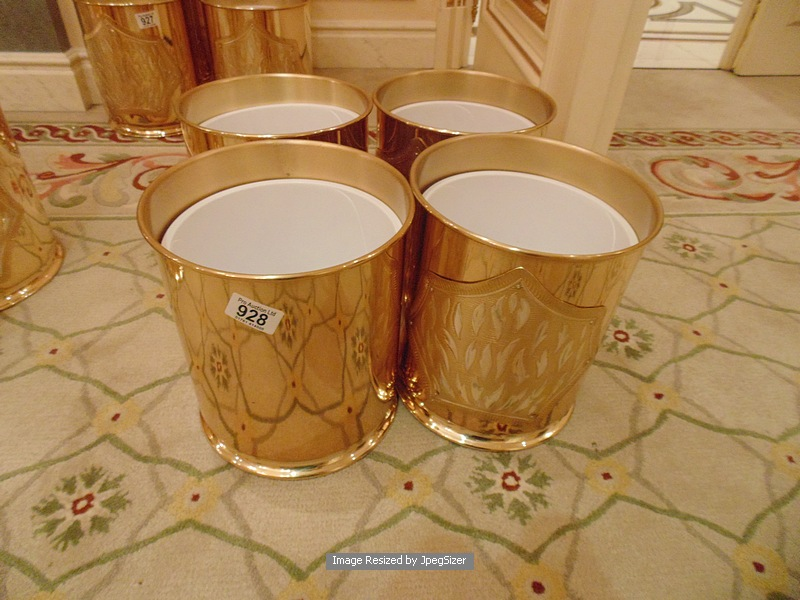 Lot 927 - 4 x 24ct. gold plated waste paper bins