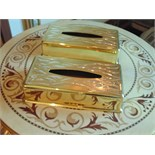 2 x 24ct. gold plated tissue box covers