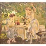 """""""Sommerliche Szene mit zwei Damen im Garten am Kaffeetisch"""", um 1920, Öl/Lw., unsign.,80x80 cm,"""