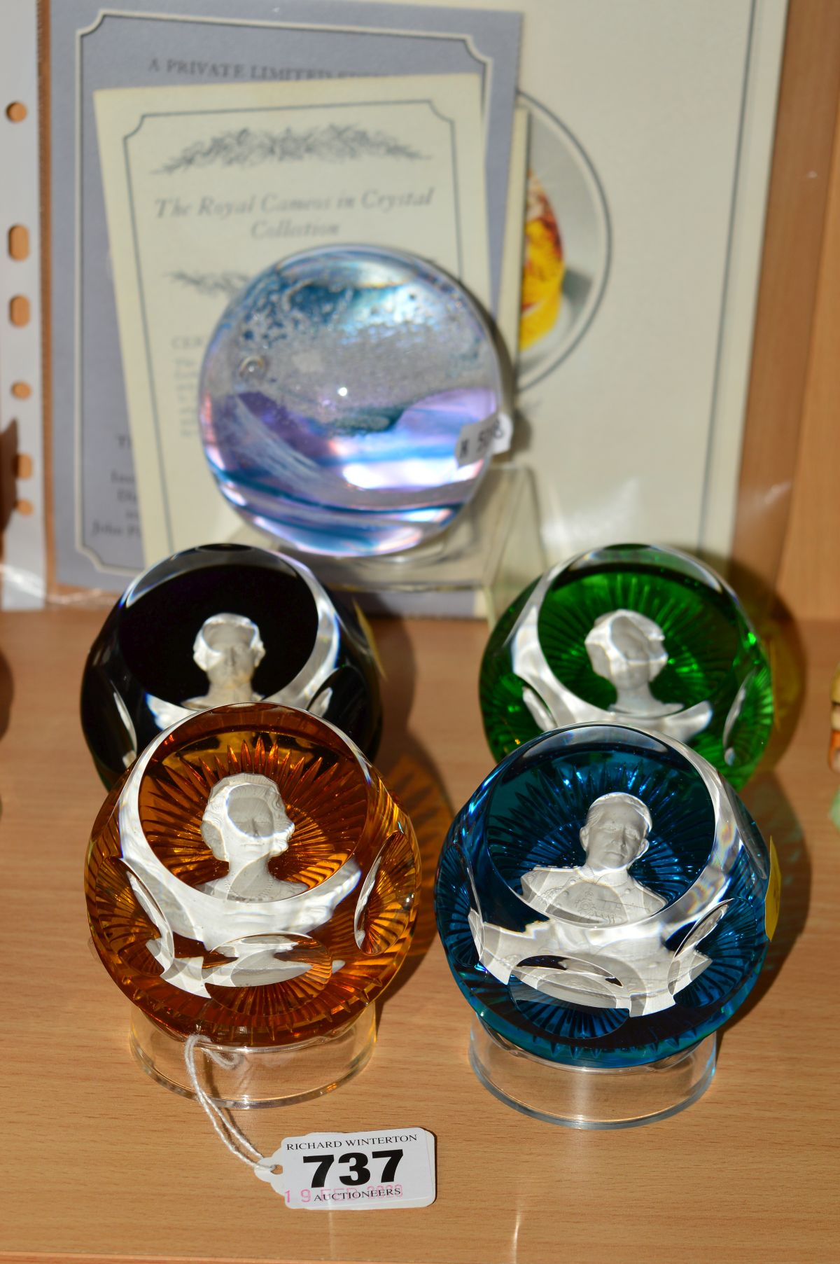 A SET OF FOUR BACCARAT PAPERWEIGHTS BY JOHN PINCHES, LONDON, from 'The Royal Cameos in Crystal