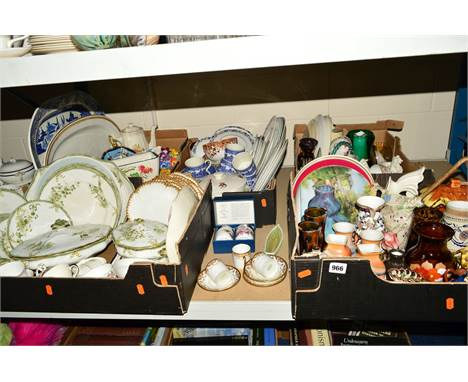 FIVE BOXES OF MOSTLY CERAMICS, some glassware including Doulton Burslem part dinner service, Staffordshire china 'Hunting' sc