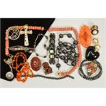 A SELECTION OF GEM, COSTUME AND WHITE METAL JEWELLERY, to include a circular brooch of Mackintosh