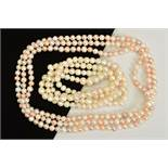 TWO LONG FRESHWATER CULTURED PEARL NECKLACES, the first designed with near uniform white and dyed