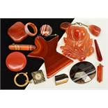 A SELECTION OF AGATE PIECES, to include two small agate panels each inset with a compass, a