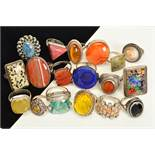 A SELECTION OF NINETEEN MAINLY GEM SET SILVER AND WHITE METAL RINGS, to include rings set with an